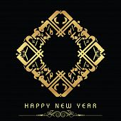 Golden Urdu calligraphy of text Happy New Year on abstract background.
