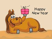 Happy New Year 2014 celebration flyer, banner, poster or invitation with illustration of happy horse, Chinese symbol of the year and gift box on abstract background.