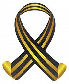 St George Ribbon in black and yellow color. isolated vector illustration