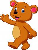 Cute brown bear cartoon waving hand