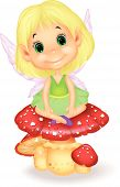 stock photo of fairy-mushroom  - Vector illustration of Cute fairy cartoon sitting on mushroom - JPG
