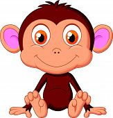 stock photo of baby-monkey  - Vector illustration of Cute baby monkey cartoon - JPG