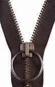 Metal Brown Zip Fastener Close Up