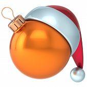 Christmas ball Happy New Year bauble decoration orange ornament Santa hat icon