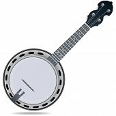 foto of banjo  - Grey fiddle insrtument banjo isolated on white background - JPG