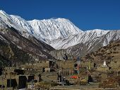 Khangsar and snow capped Tilicho Peak