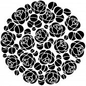 Round stylized background with roses flowers.