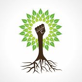 Unity hand make tree - vector illustration