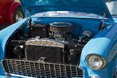 1955 Blue And White Chevy Bel Air Engine