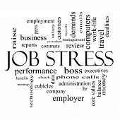 Job Stress Word Cloud Concept In Black And White
