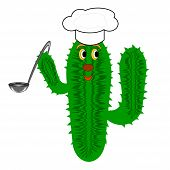 A Funny Cactus With A Chef Hat And A Soup Ladle