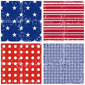Blue red white star stripe dot square seamless pattern set