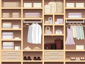 stock photo of shoe-box  - Wardrobe with clothes - JPG