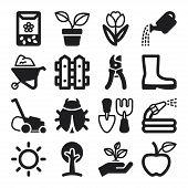 Gardening Flat Icons. Black