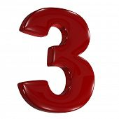 3d shiny matt red font made of plastic or ceramic -  number three 3