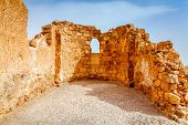Ruins of Byzantine church in Masada fortress in Israel