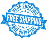 foto of shipping receiving  - Free shipping grunge blue vintage round isolated seal - JPG