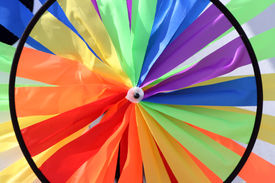 stock photo of gay pride  - Rainbow flag wheel the symbol of gay pride - JPG