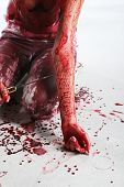 stock photo of strangled  - Beautiful red hair girl covered in blood - JPG