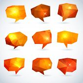 Set of abstract speech bubbles or talk balloons of polygon prism pattern. Good as advertising templa