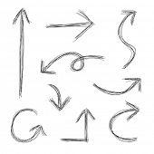 Hand drawn scribble arrows sketch