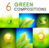 Mega collection of vector green summer concepts - leaves, sky, sun