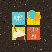 pic of wacky  - Vector illustration of grunge looking happy birthday card with four squares - JPG