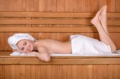 picture of sauna woman  - Beautiful woman in sauna - JPG