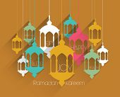 Vector Flat Muslim Oil Lamp Graphics. Translation: Ramadan Kareem - May Generosity Bless You During
