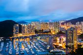 pic of typhoon  - Aberdeen typhoon shelter in Hong Kong at night - JPG