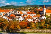 Autumn view on the houses in Cesky Krumlov, Czech Republic