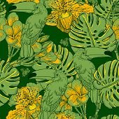 Seamless green pattern with flowers and Toucan