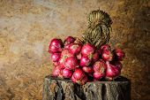 picture of red shallot  - Still Life With Shallots red onions on the timber - JPG
