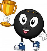 Mascot Illustration Featuring a Squash Ball Holding a Gold Trophy