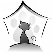Icon Illustration Featuring a Cat in a Cattery Drawn in Black and White