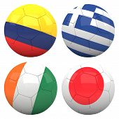 3D Soccer Balls With Group C Teams