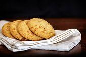 Set Of Apple Chip Cookies On White Napkin