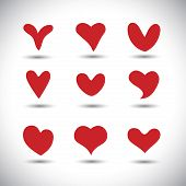 Different Variety Of Heart Shape Icons - Vector Graphic