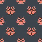 foto of dainty  - Dainty vintage damask style pattern with floral motifs in an salmon pink on a dark grey ground - JPG