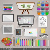 Vector drawing tools style. set 10