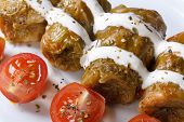 Stuffed Cabbage Rolls With Sour Cream Closeup. Horizontal
