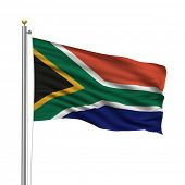 Flag of South Africa with flag pole waving in the wind over white background