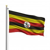 Flag of Uganda with flag pole waving in the wind over white background