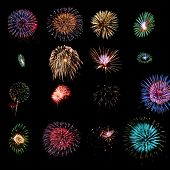 Sixteen different fireworks explosions as design elements