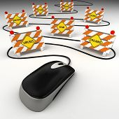 stock photo of virus scan  - Computer mouse with internet security threats concept - JPG