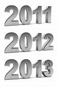 Upcoming years 2012 and 2013 as chrome digits over white background