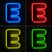 Highly detailed neon sign with the letter E in four colors