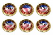 Set of six 2012 US presidential election buttons over white background including clipping path