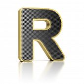 The letter R as a perforated metal object over white