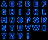 stock photo of street-art  - Blue neon signs with all letters of the alphabet - JPG